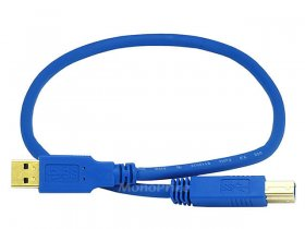 1.5' USB 3.0 A Male to B Male 28/24AWG Cable (Gold)
