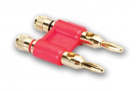 Connector, Dual Banana, Red, Gold Plated