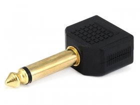 "2(3.5mm) 1/8"" Mono Jacks to (6.3mm) 1/4"" Mono Plug (Gold)"