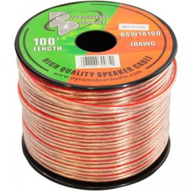 100Ft 18Awg Clear Speaker Wire (2-Conductor)
