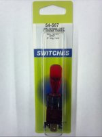 SPST 12VDC Red Lighted Bat Handle Toggle Switch On-Off 20A NTE