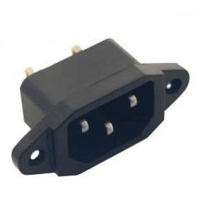 Recessed Male (IEC) AC Panel Jack (Dog Ears) 10A