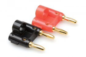 Connector, Dual Banana, Wide Opening, Gold Plated (2Pk)