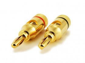 Banana Plugs Open Screw Type (Gold) Red/Black (1Pair)
