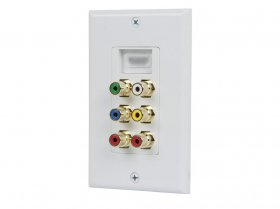 Recessed HDMI Decora Wall Plate with Component, R+W+Y (White)