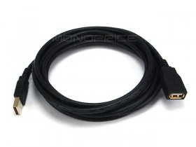 15Ft Black USB 2.0 A Male to A Female Ext. 28/24AWG Cable (Gold)