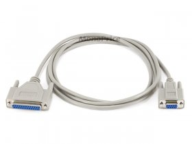 6' Null Modem DB9F/DB25F Molded Cable