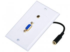 "VGA / (3.5mm) 1/8"" Stereo Jack Audio Wall Plate (Gold Plated)"