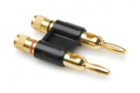 Connector, Dual Banana, Black, Gold Plated