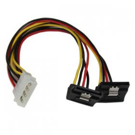 12in LP4 to 2x Right Angle Latching SATA Power 4 Pin Molex/2SATA