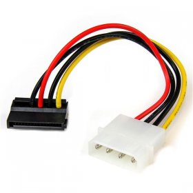 6in 4 Pin Molex to Left Angle SATA Power Cable Adapter