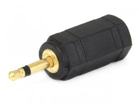 "(3.5mm) 1/8"" Mono Jack to (2.5mm) 3/32"" Mono Plug Adapter (Gold)"