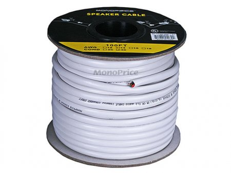 100' 14Awg 4-Conductor Oxygen-Free Pure Bare Copper Speaker Wire