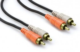 2m (6.6') Stereo Interconnect Cable Gold Plated Dual RCA to Same