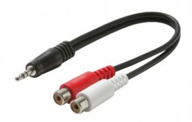 "6"" (3.5mm) 1/8"" Stereo Plug to 2RCA Jacks Cable (Red+White)"