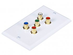 5-RCA Component RGB+RW Decora White Wall Plate