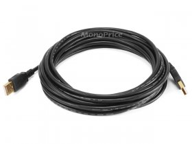 15' Black USB 2.0 A Male to A Male 28/24AWG Cable (Gold)