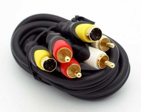 3' S-Video With 2RCA (R+W) Audio Cable (Gold)