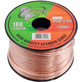 100' 12Awg Clear Speaker Wire (2-Conductor)