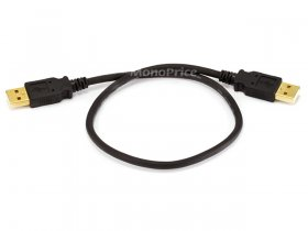 1.5Ft Black USB 2.0 A Male to A Male 28/24AWG Cable (Gold)