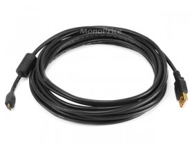 15' Black USB 2.0 A Male to Micro-B 5pin Male Cable w/ Ferrite