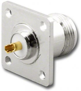 N Female Jack Chassis Mount Connector (Square Plate)