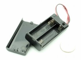 "2 ""AA"" Enclosed Battery Holder w/ On-Off Switch (6"" Leads) 3V"