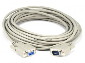 25' DB9 M/F Molded Serial Cable