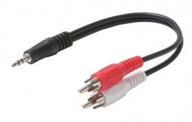 "6"" (3.5mm) 1/8"" Stereo Plug to 2RCA Plugs Cable (Red+White)"