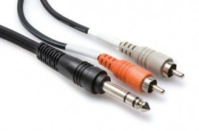 6.6Ft (2m) Insert Cable 1/4in TRS to Dual RCA