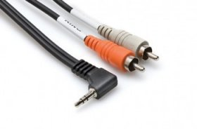 3Ft Stereo Breakout Cable Right-angle 3.5mm TRS to Dual RCA