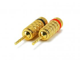 Speaker Pins Closed Screw Type (Gold) Red/Black (1 Pair)