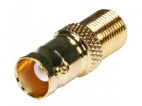 BNC Jack to F Jack Adapter (Gold)