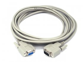 15' DB9 M/F Molded Serial Cable