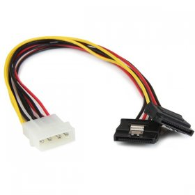 12in LP4 to 2x Latching SATA Power Y Cable 4 Pin Molex/2SATA