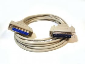 6' Null Modem DB25 M/F Molded Cable