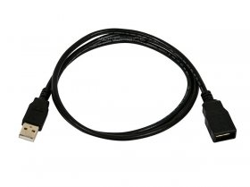 1.5Ft Black USB 2.0 A Male to A Female Ext. Cable (Gold)