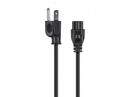 "3Ft Black 18AWG AC Cord, NEMA 5-15P to IEC 60320 C5 ""Mouse Ears"""