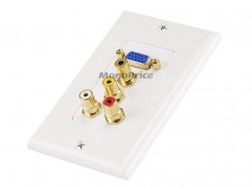 "VGA, (3.5mm)1/8""Stereo, R+W RCA Decora Wall Plate (Gold Plated)"