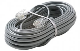15Ft Silver 6P4C RJ14 Telephone Line Cord