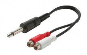 "6"" (6.3mm) 1/4"" Mono Plug to 2RCA L+R Jacks Y Cord"