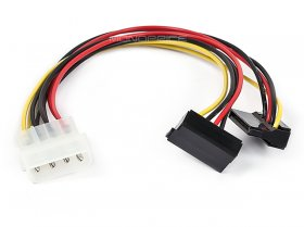 "8"" 4pin MOLEX Male to (2)15pin SATA Female w/ 90°"