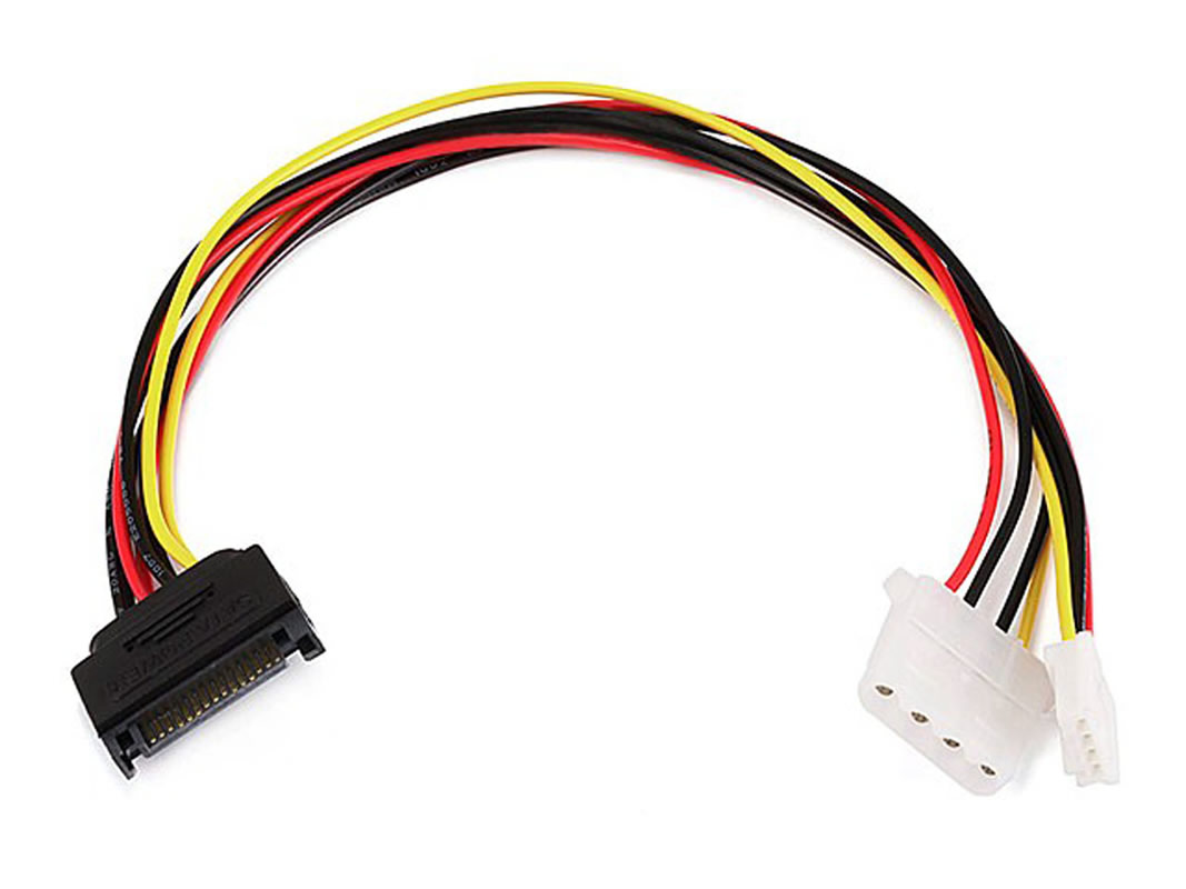 "12"" SATA 15pin Male to 4pin Molex and 4pin Power Cable"