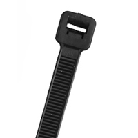 "7.5"" Nylon Cable Ties (100Pk) Black Holds Up To 50 Lbs"