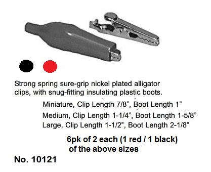 "Alligator Clip Set, 7/8"", 1-1/4, 1-1/2"" (6Pk)"