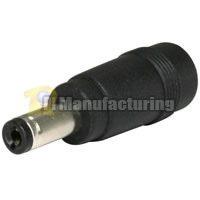 Size N 5.5/2.5mm Jack to M 5.5/2.1 Plug Coaxial DC Adapter