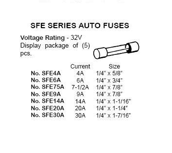 9 Amp SFE Auto Fuse 32V 1 4 X 7