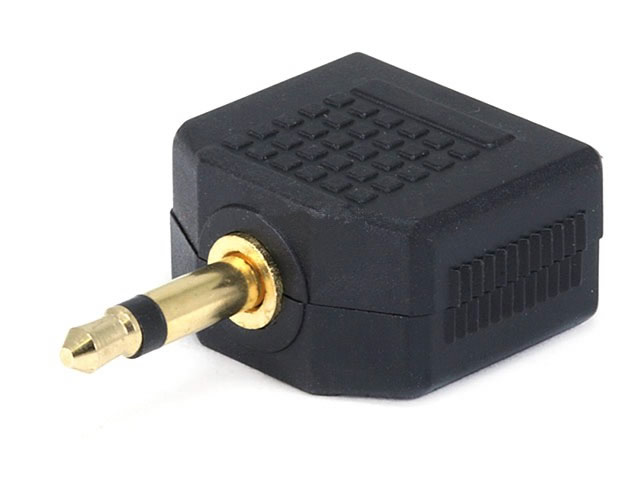 "2(3.5mm) 1/8"" Mono Jacks to (3.5mm) Mono Plug Splitter (Gold)"