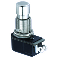 SPST Round Pushbutton Switch Off-(On) Lug 125V 6A NTE