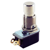 SPST Round Pushbutton Switch On-(Off) Lug 125V 6A NTE